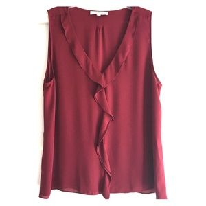 Burgundy Ann Taylor Loft Sleeveless Blouse